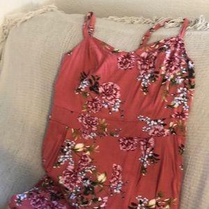 Floral pink wide leg jumpsuit